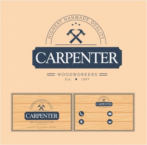 name card template carpenter logotype wooden backdrop 6829452