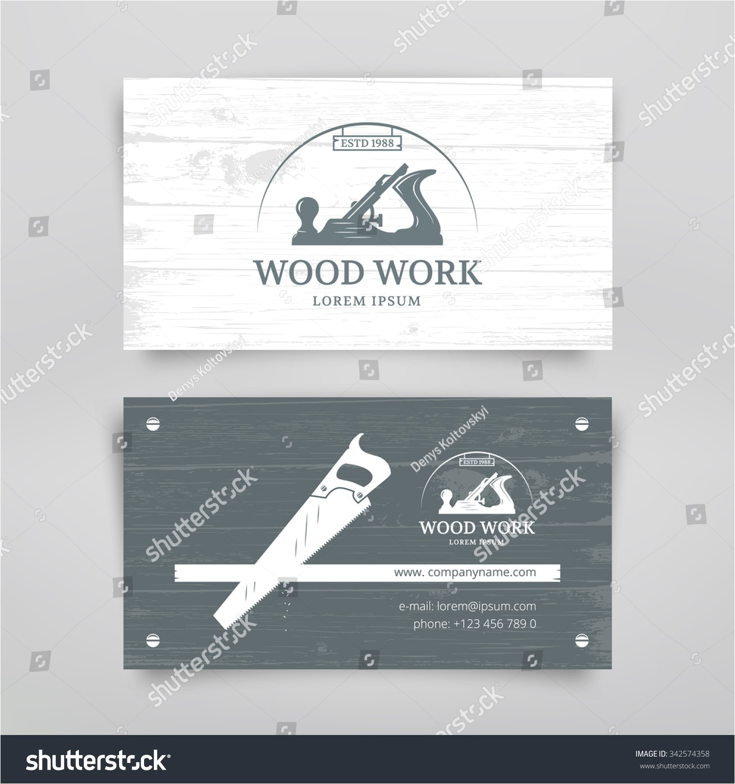 woodwork vintage style business card design 342574358