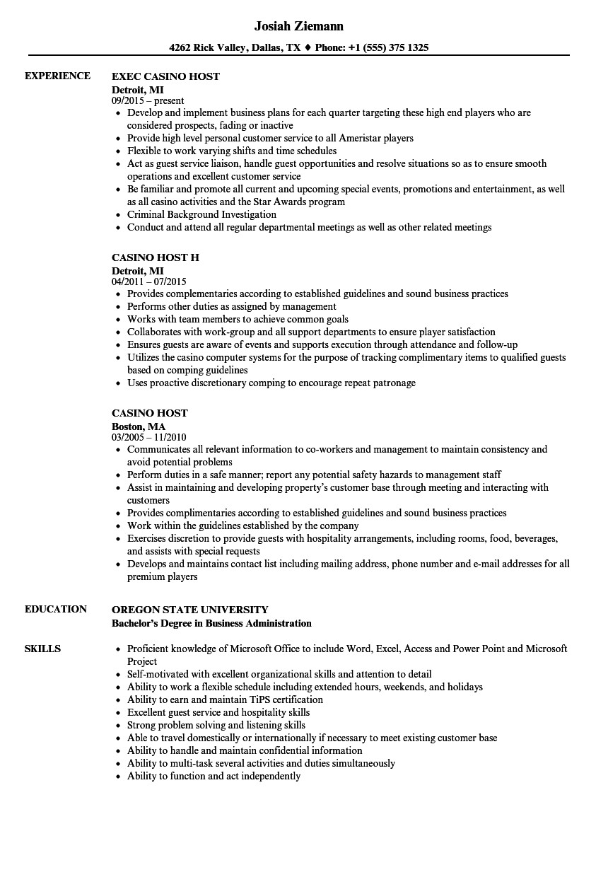Casino Host Resume Sample Casino Host Resume Samples Velvet Jobs