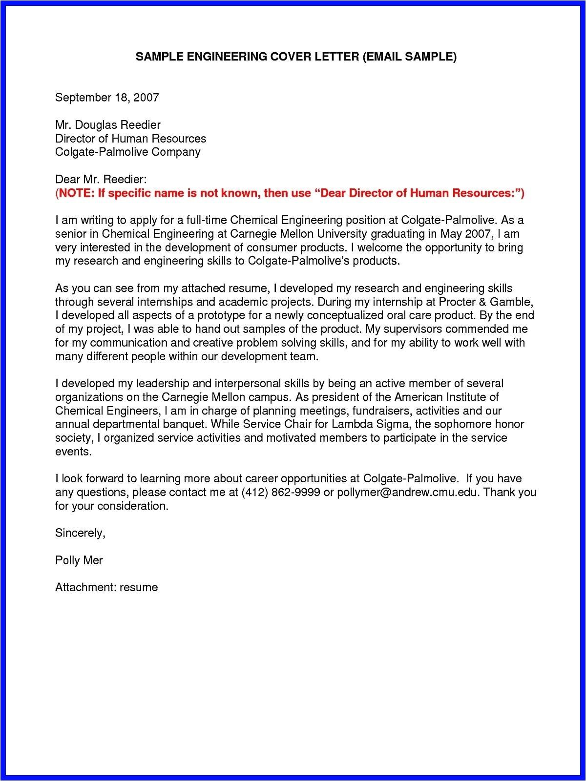 sample cover letter for sending resume through email