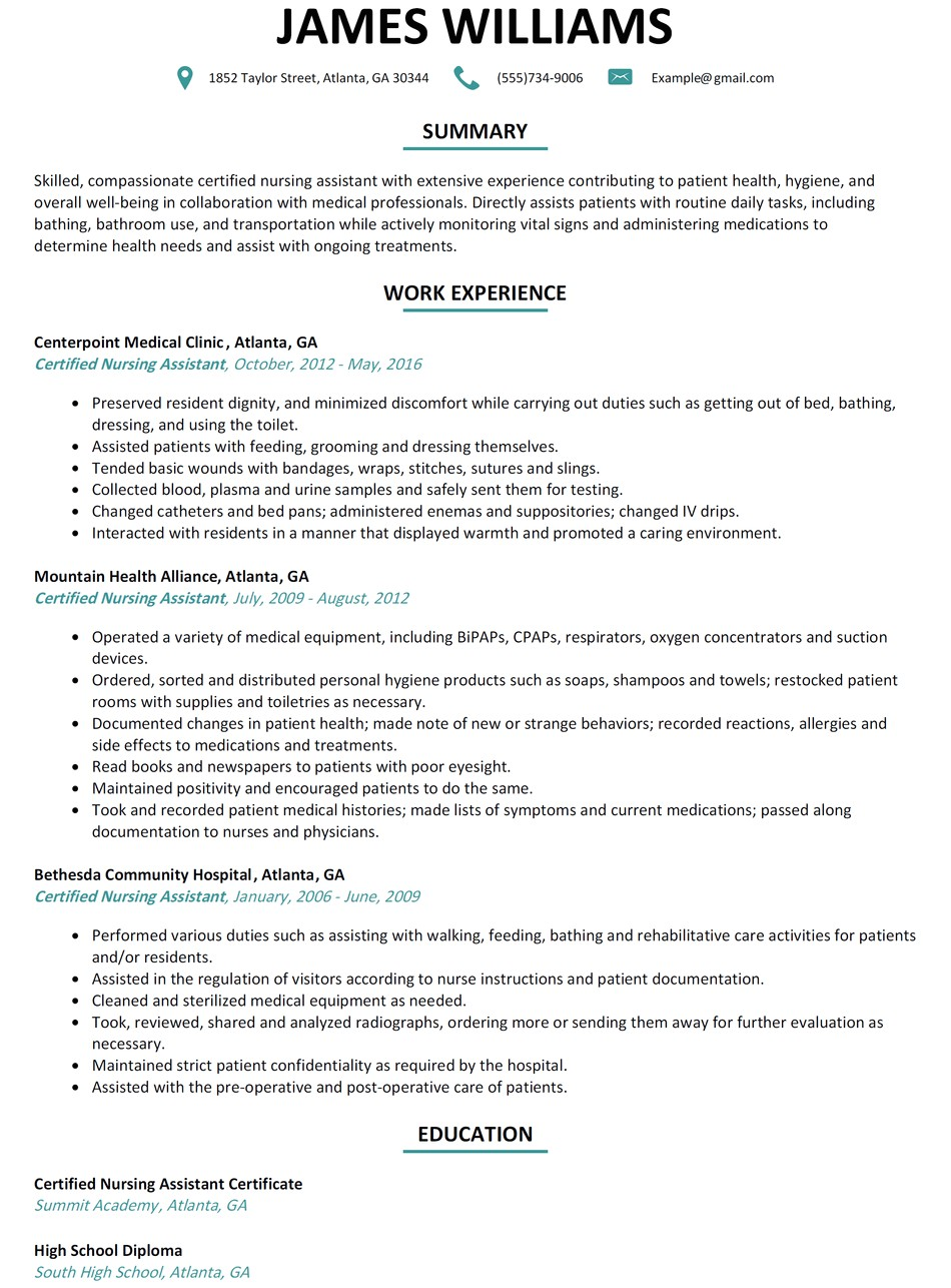 certified nursing assistant duties and responsibilities resume sample list education on action verbs 37133