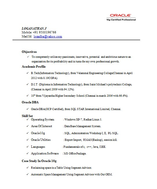 Certificate On Resume Sample oracle Certified Professional Resume