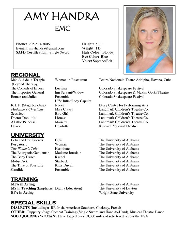 Child Modeling Resume Sample 1000 Images About Resume Examples On Pinterest theater