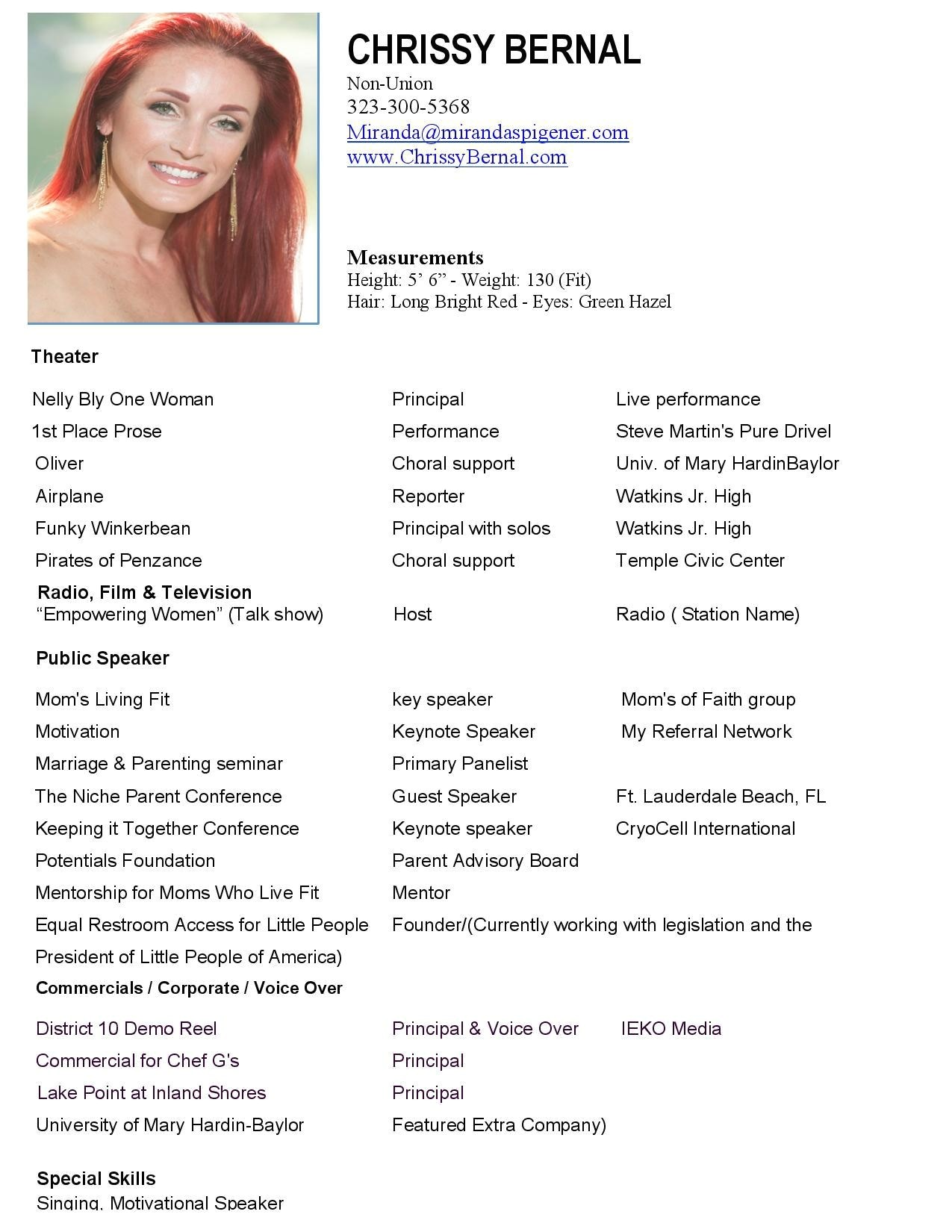 Child Modeling Resume Sample Model Resume Template Health Symptoms and Cure Com