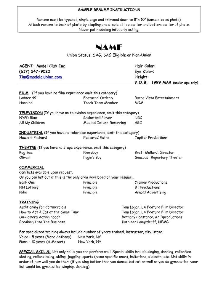 sample model resume