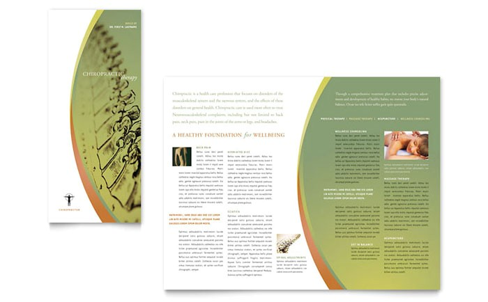 massage chiropractic tri fold brochure template design md0192301