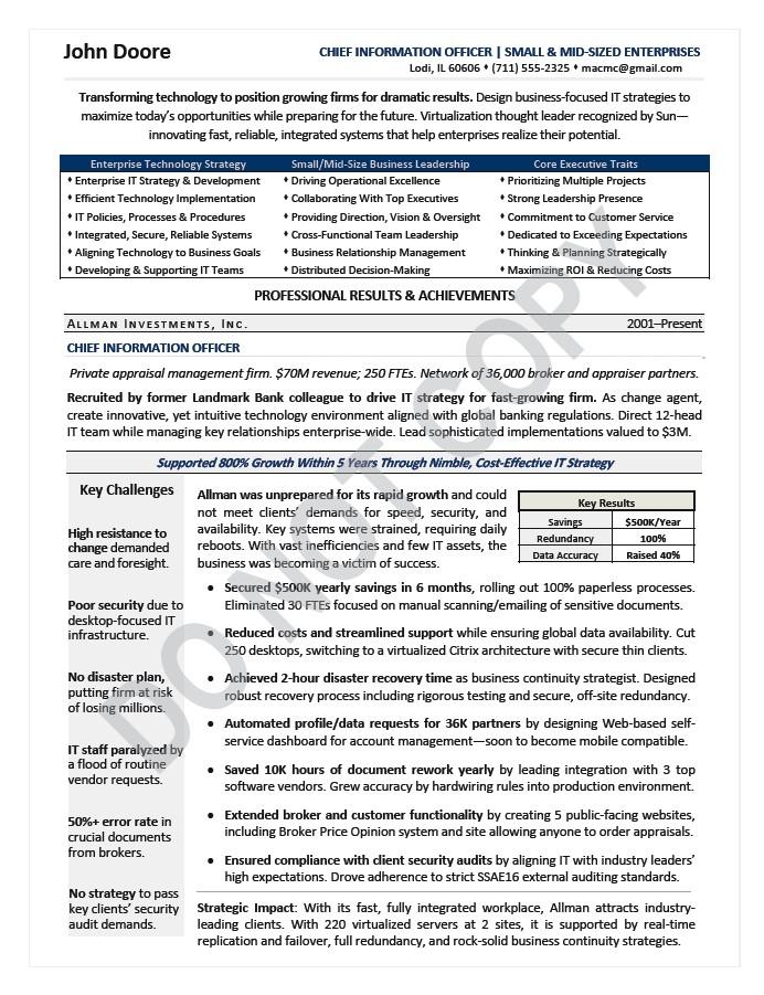 cio executive resume sample technology