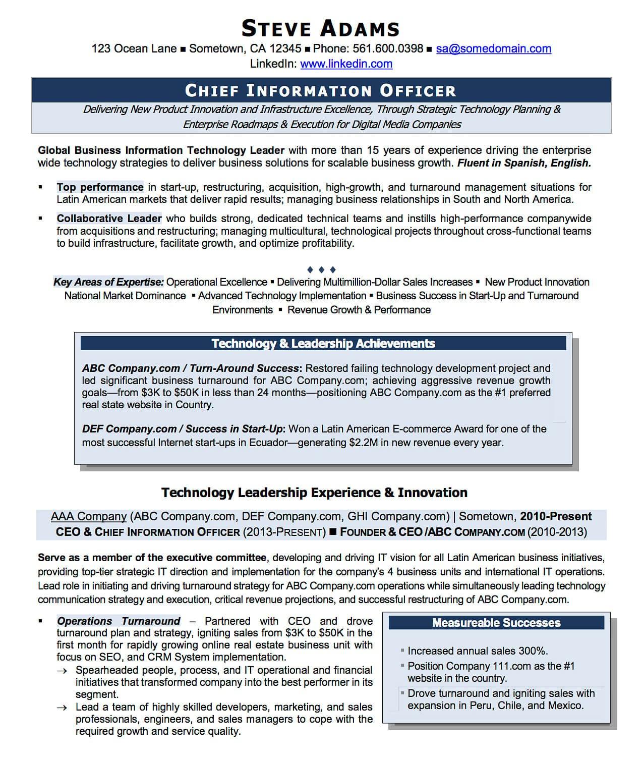 Cio Resume Samples Resume Examples Cv Sample Resume Templates Rso Resumes