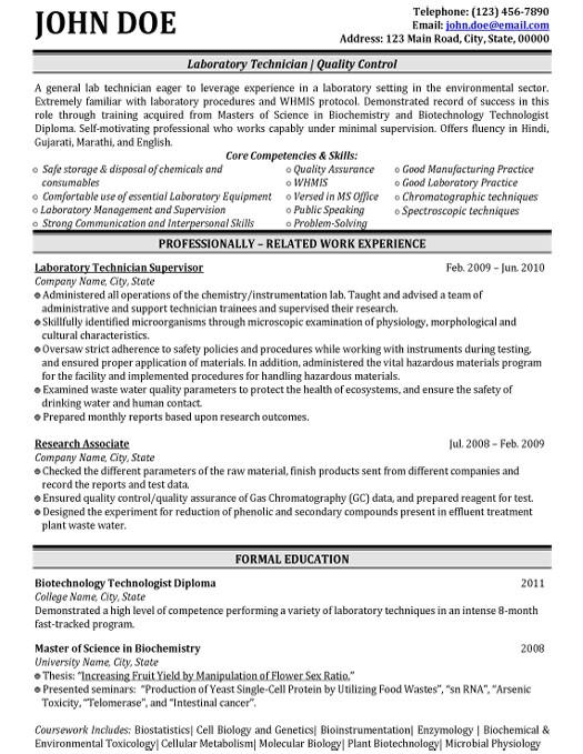 Civil Lab Technician Resume Sample top Biotechnology Resume Templates Samples