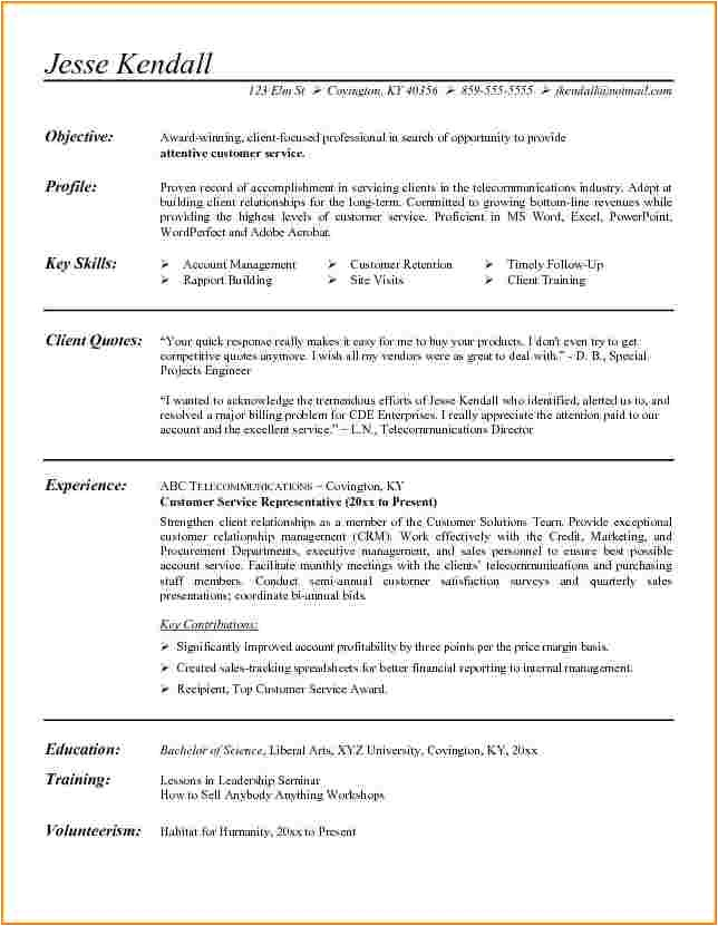 customer service objective statements for resumes