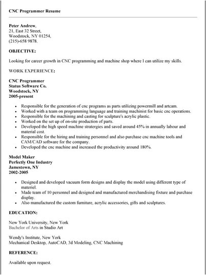 cnc programmer resume sample