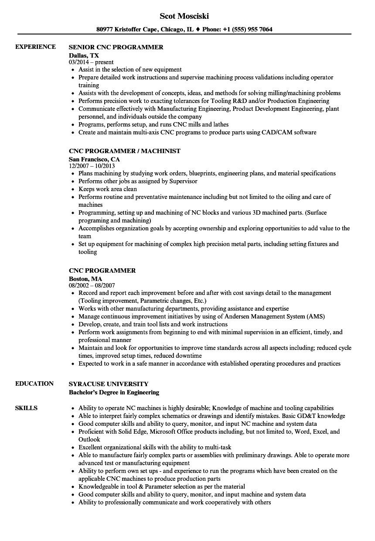 Cnc Programmer Resume Samples Cnc Programmer Resume Samples Velvet Jobs