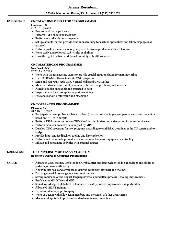 programmer cnc resume sample