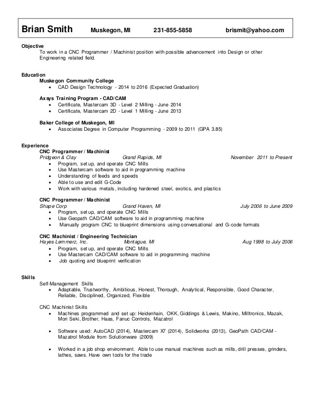 Cnc Programmer Resume Samples Resume Smith Brian Cnc