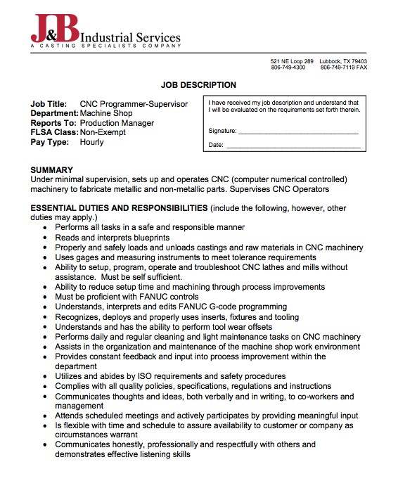 Cnc Programmer Resume Samples Sample Of Job Description Of Cnc Programmer Free Resume