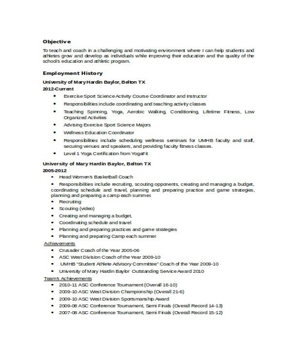 coach resume
