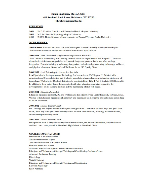 athletic coaching resume
