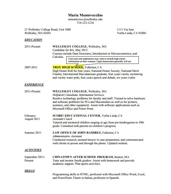 College Admissions Resume Template for Word 12 College Resume Templates Pdf Doc Free Premium