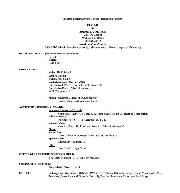 College Admissions Resume Template for Word College Admissions Resume Template Best Resume Collection