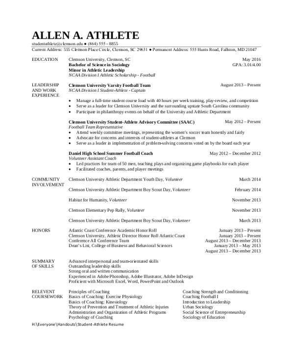College athlete Resume Sample 8 Sample Student Resumes Sample Templates