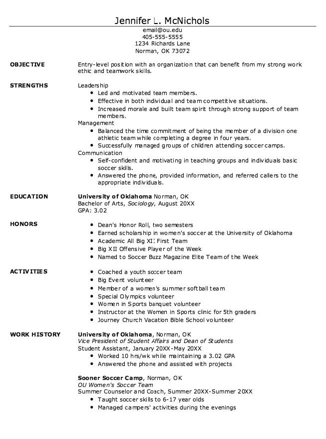 College athlete Resume Sample Example Of Student athlete Resume Http Exampleresumecv