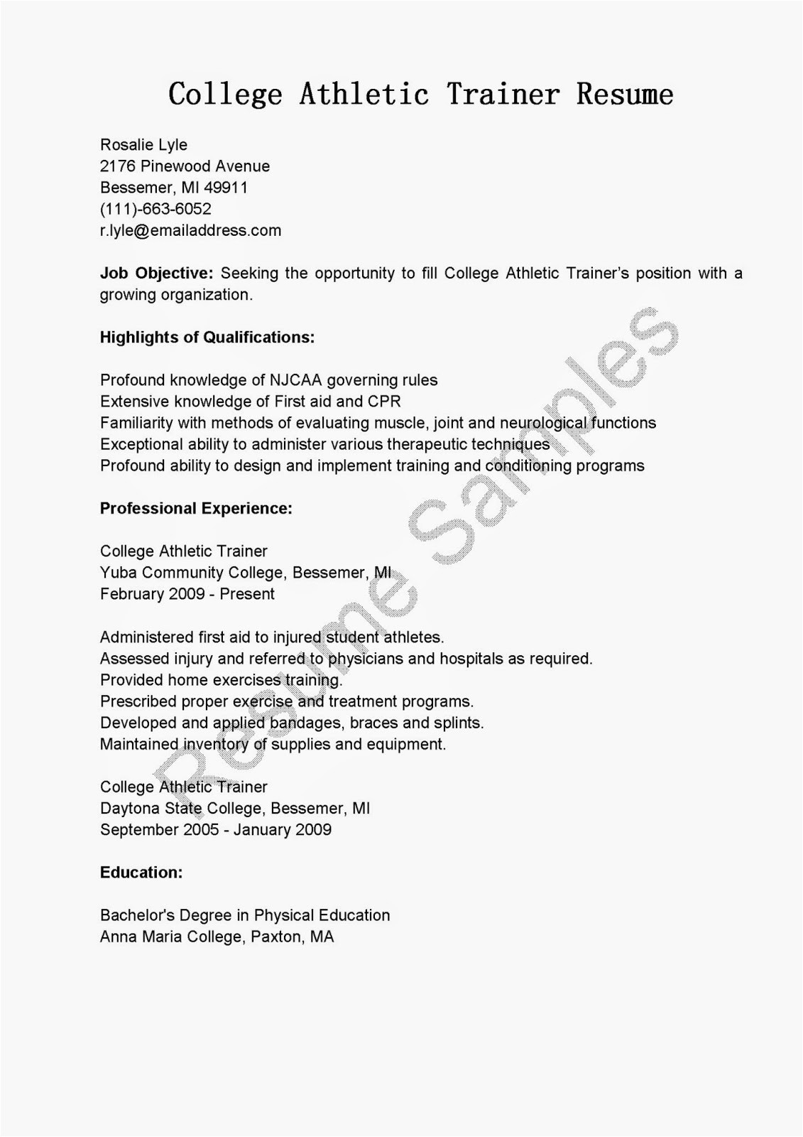 College athlete Resume Sample Resume Samples College athletic Trainer Resume Sample