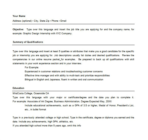 combination resume template word