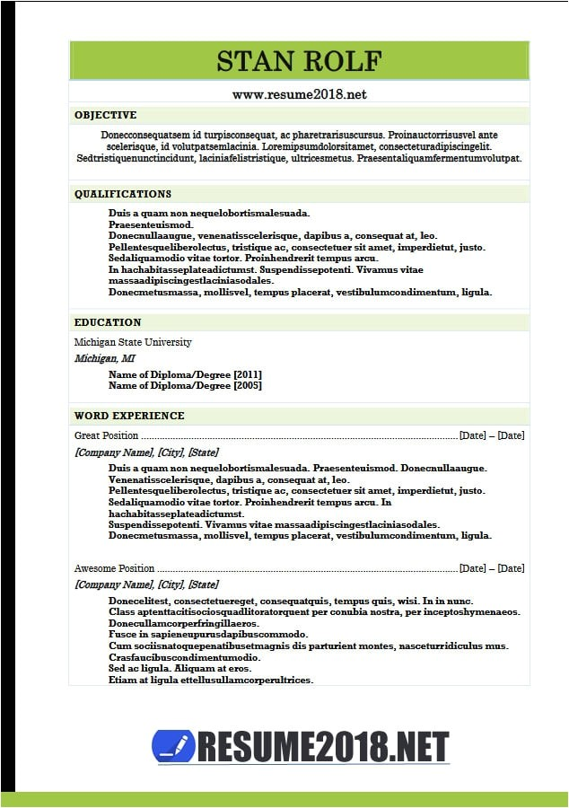 Combination Resume Template 2018 Resume format 2018 20 Free to Download Word Templates