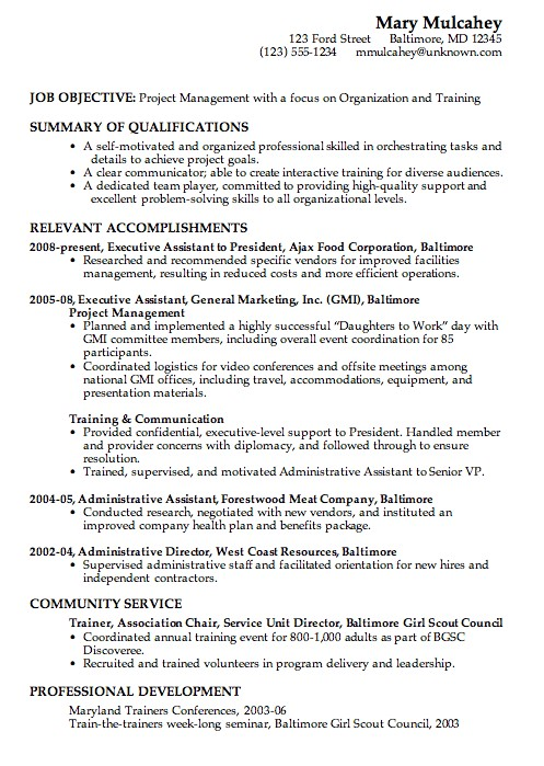 sample combination resume example