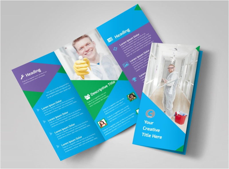 commercial cleaning tri fold brochure template