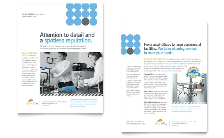 Commercial Cleaning Brochure Templates Janitorial Office Cleaning Datasheet Template Word
