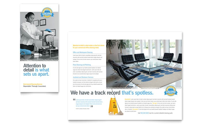 janitorial office cleaning tri fold brochure template design pn0142301