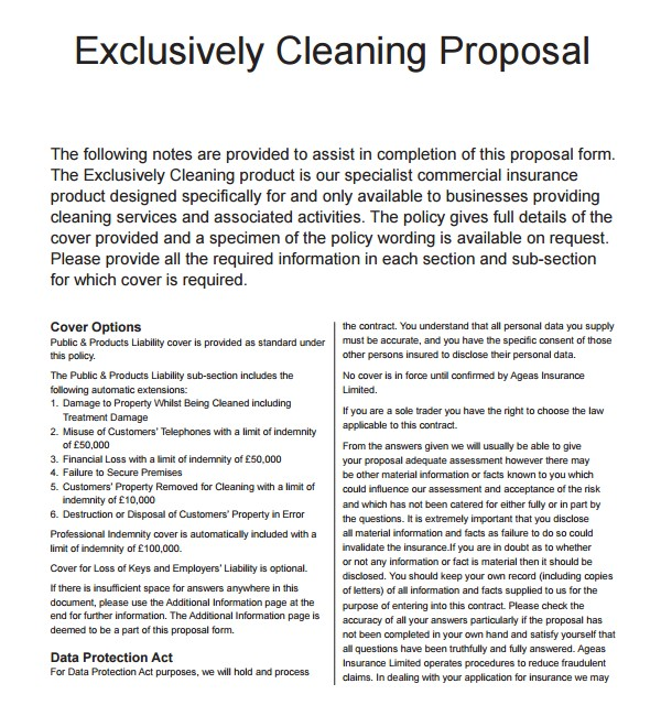 Commercial Cleaning Proposal Template Free 13 Cleaning Proposal Templates Pdf Word Apple Pages