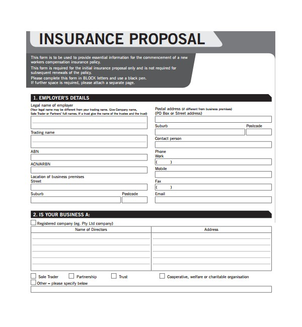 Commercial Insurance Proposal Template 12 Insurance Proposal Templates Sample Templates