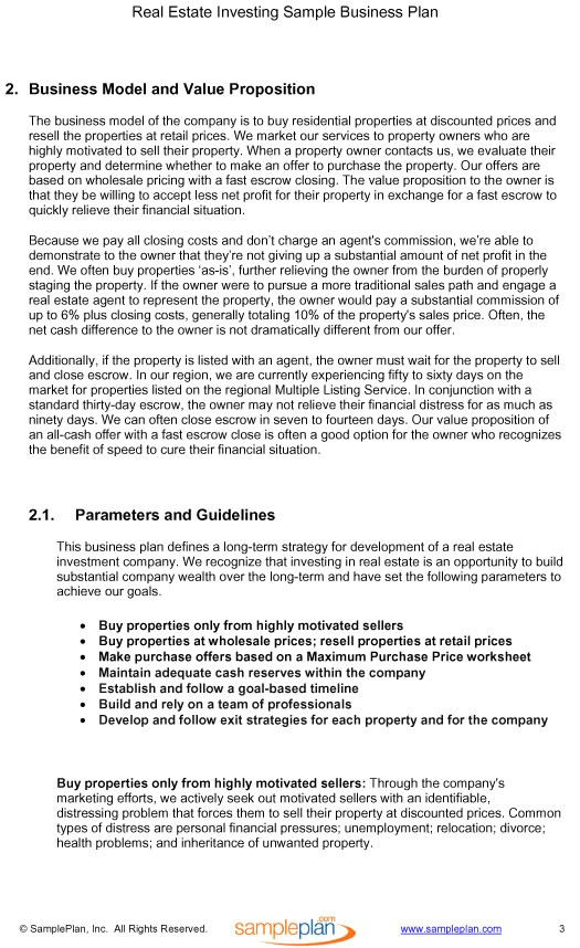business plan template for real estate investment