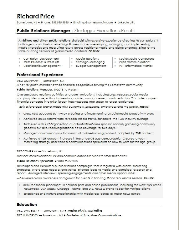 sample resume pr manager
