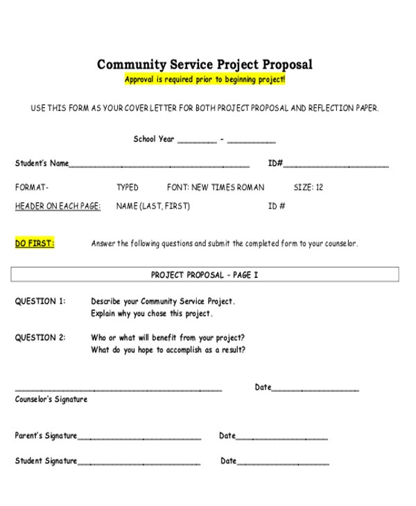 Community Service Project Proposal Template 9 Sample Service Proposal Letters Sample Templates