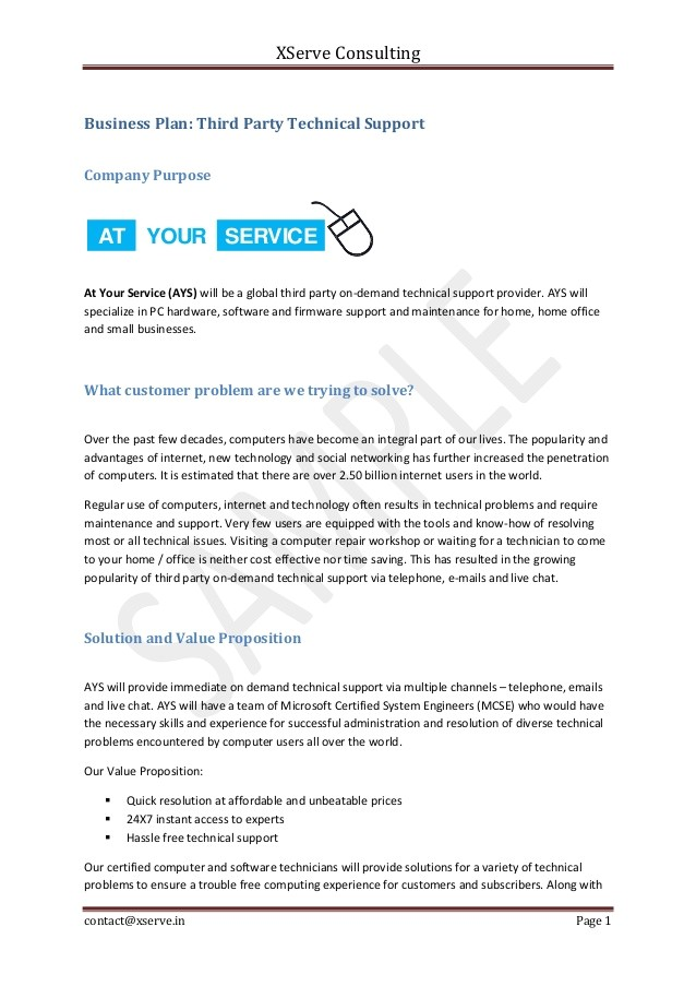 Computer Repair Business Plan Template Free Pdf Business Plan Sample