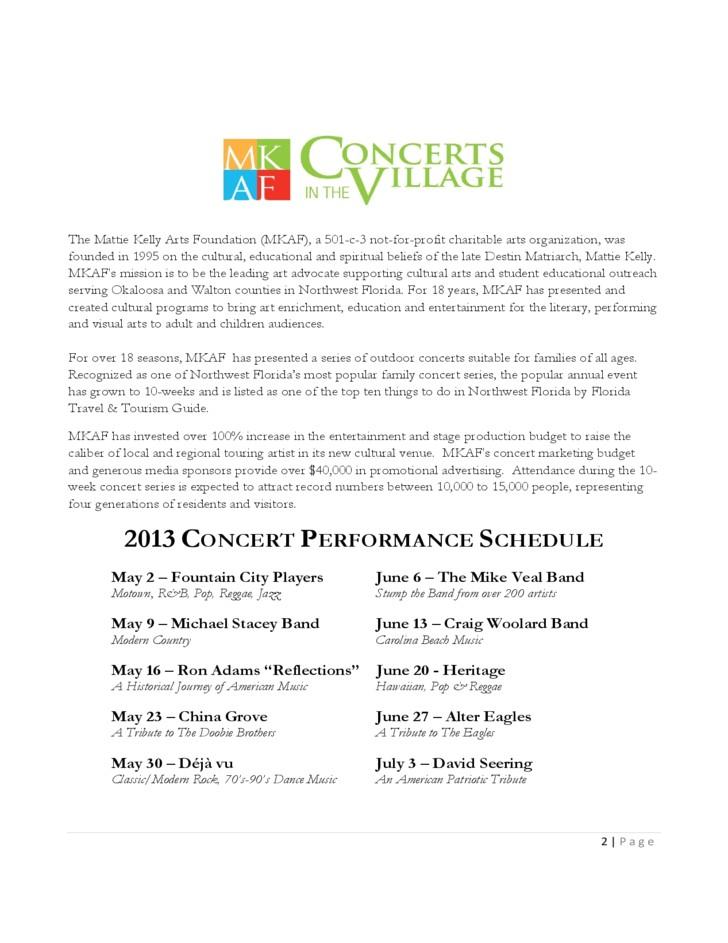 Concert Sponsorship Proposal Template Sponsorship Proposal Of Concerts In the Village Free Download