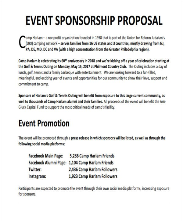 Concert Sponsorship Proposal Template Sponsorship Proposal Template for events Dtk Templates