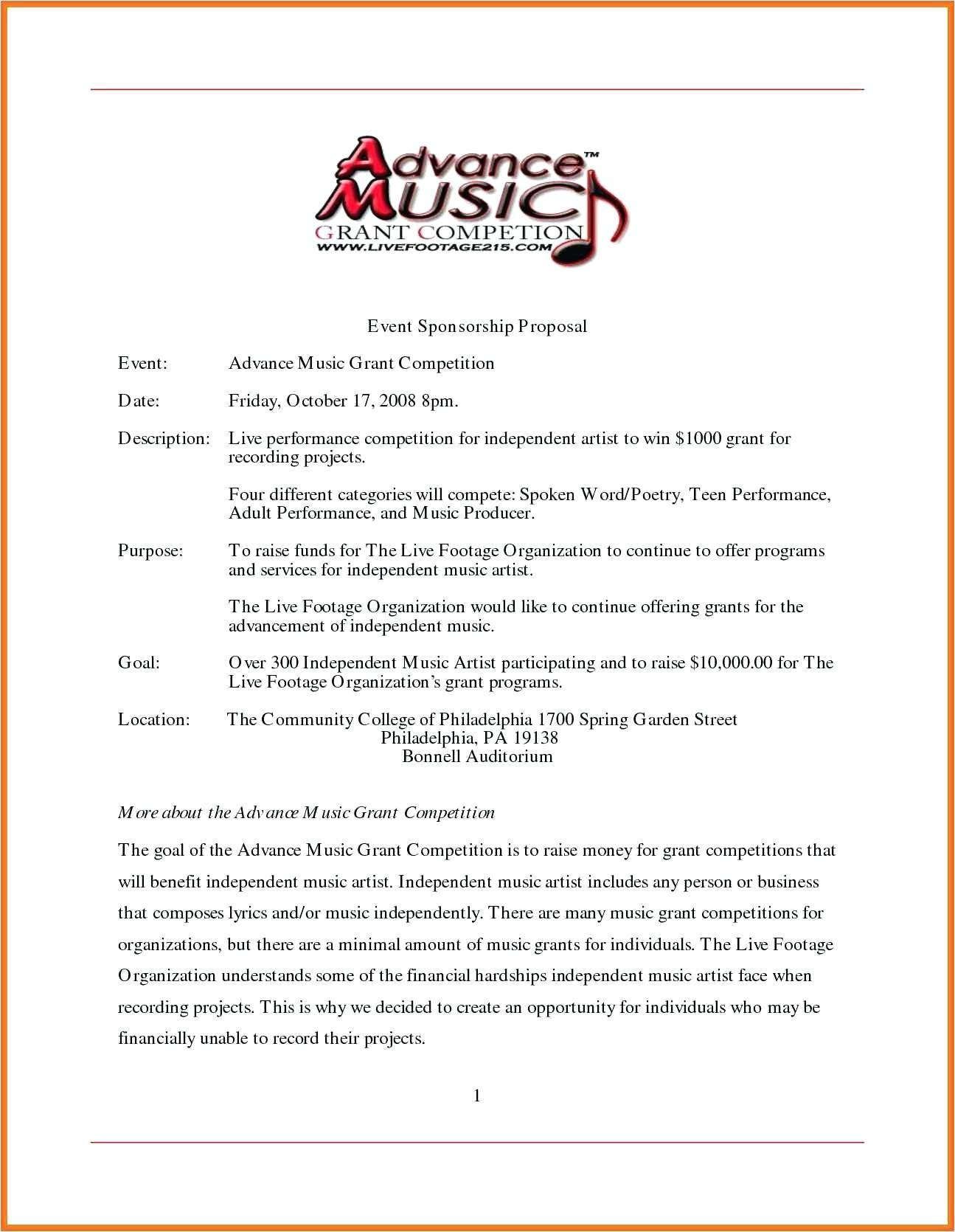 concert sponsorship proposal template