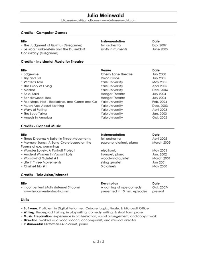 Condensed Resume Template Resume format Resume for Musicians