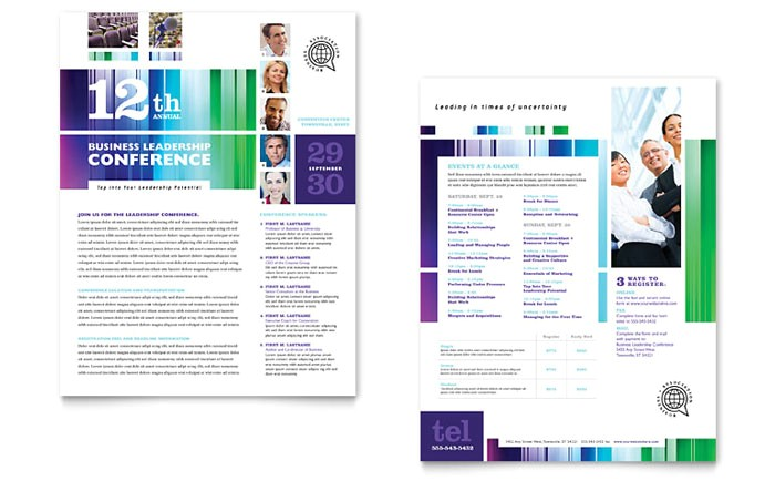 business leadership conference datasheet template design pn0080901