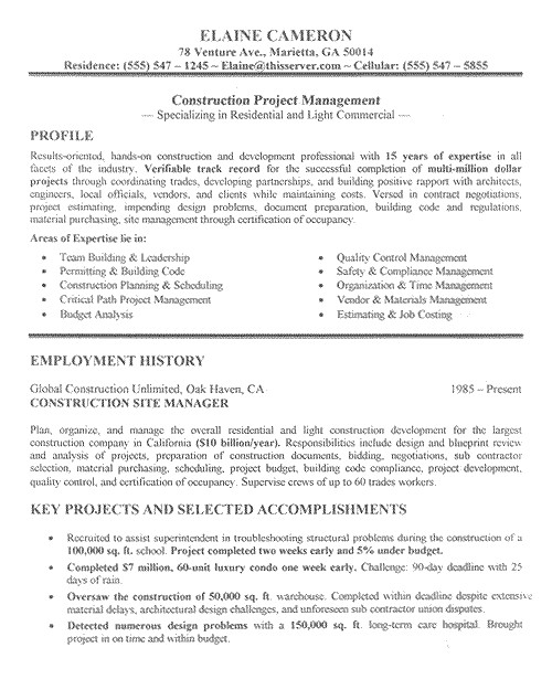 Construction Manager Resume Template Construction Resume Examples Project Scope Template
