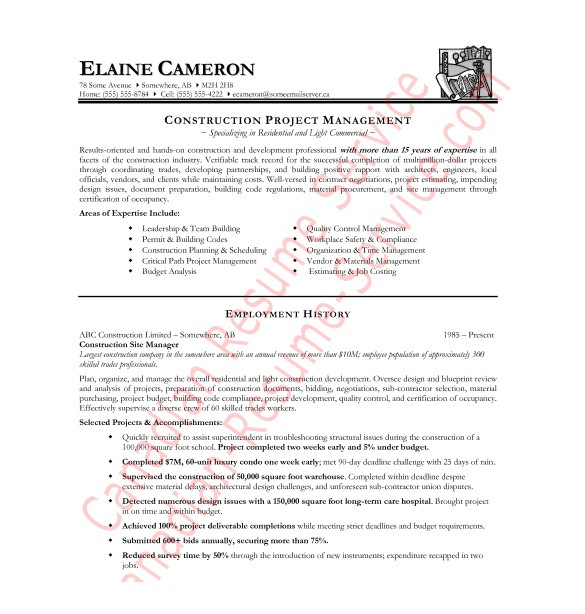 Construction Manager Resume Template Construction Resume Template 9 Free Word Excel Pdf