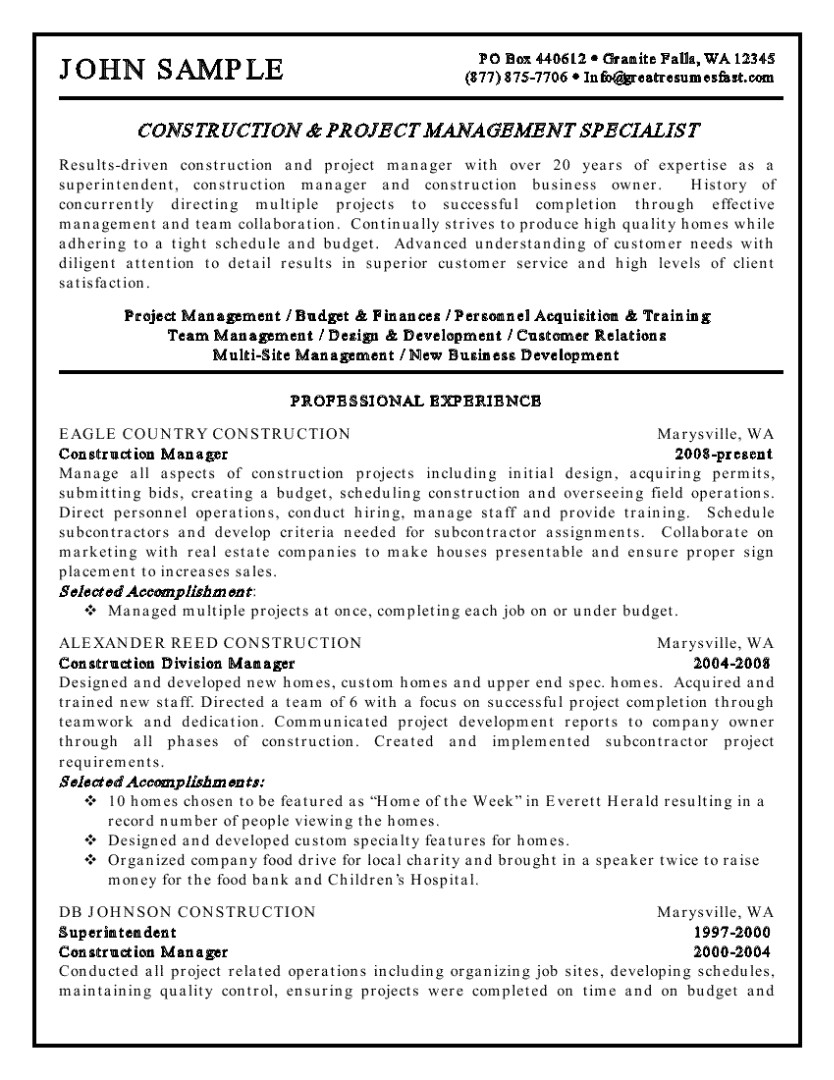 Construction Project Manager Resume Template Construction Management Resume