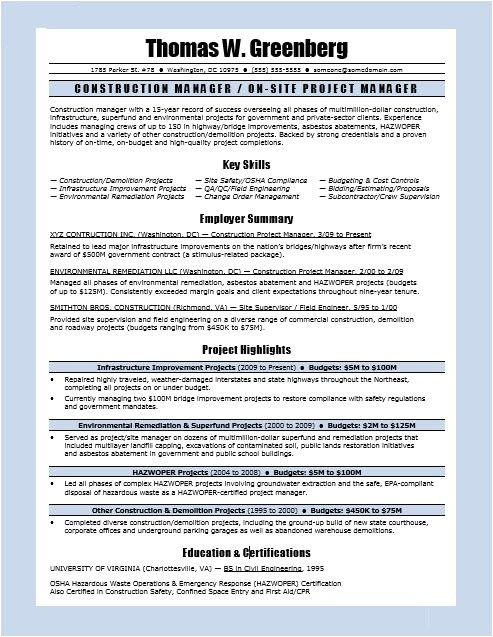 sample resume construction manager