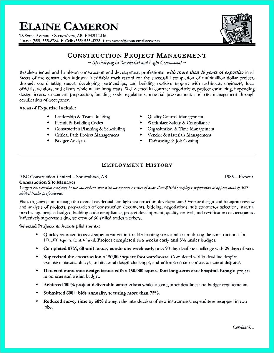 Construction Project Manager Resume Template Cool Construction Project Manager Resume to Get Applied