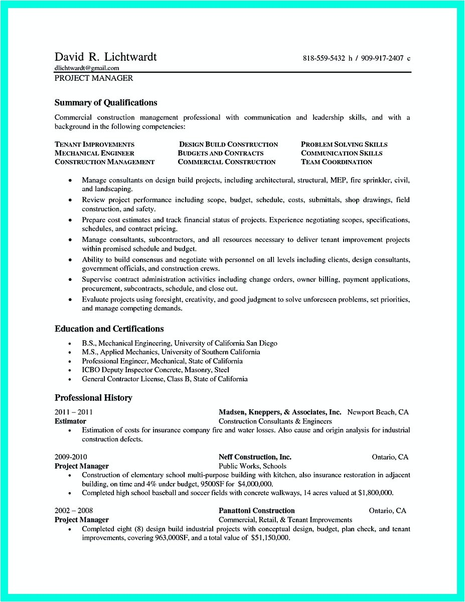 cool construction project manager resume get applied