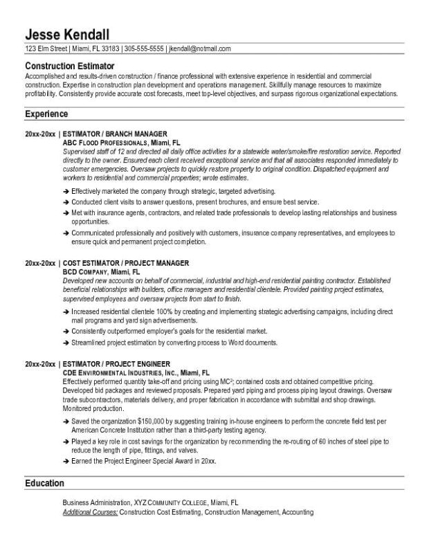 Construction Resume Template Word Construction Estimator Resume Sample Microsoft Word